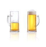 Beer glass half full or half empty. Isolated on white background Stock Photo