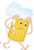 Beer glass with a headache Royalty Free Stock Image