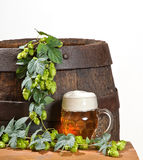 Beer Glass And Hops Royalty Free Stock Image