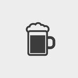 Beer glass icon fish icon in a flat design in black color. Vector illustration eps10 Stock Image