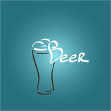 Beer glass icon, illustration, vector. Painted beer glass icon, beer foam, illustration Stock Photography
