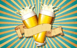 Beer Glass In Retro Background Royalty Free Stock Image