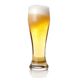 Beer into glass isolated on white Royalty Free Stock Photos
