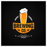 Beer Glass Logo. Brewing Company Background Stock Photography
