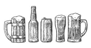 Beer glass, mug, can, bottle, hop. Vector vintage engraved illustration isolated on white background. Royalty Free Stock Photo