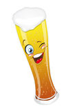 Beer_glass. Beer glass mug with foam cartoon character smiling funny Stock Images