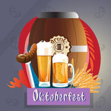 Beer Glass Mug With Sausage Barrel Oktoberfest Festival Banner Royalty Free Stock Photography