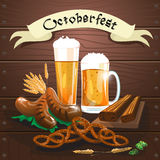 Beer Glass Mug With Sausage Pretzel Oktoberfest Festival Banner Royalty Free Stock Photo