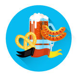 Beer Glass Mug With Sausage Pretzel Oktoberfest Festival Icon Royalty Free Stock Photos
