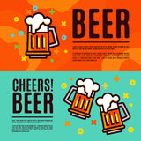 Beer in glass mugs. Set Banner Stock Images
