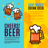 Beer in glass mugs. Set Banner Stock Image
