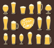 Beer in glass (pint of beer) flat icon set,  Stock Photography