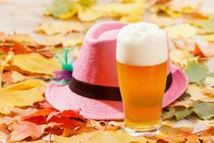 Beer glass pint octoberfest picnic on natural background with hat and autumn leaves. Beer glass pint octoberfest picnic on natural background with hat and autumn stock photo