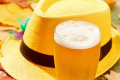 Beer glass pint octoberfest picnic on natural background with hat and autumn leaves royalty free stock photo