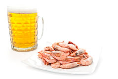 Beer in glass and prawns Stock Photo
