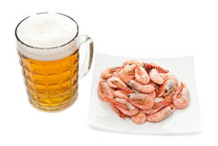 Beer in glass and prawns Stock Images