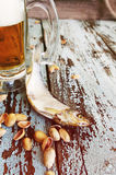 Beer in a glass, salty fish and pistachios. Beer and beer snack. Stock Images