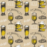 Beer Glass Seamless Pattern Oktoberfest Festival Holiday Decoration Banner. Vector Illustration Royalty Free Stock Photo