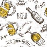 Beer Glass Seamless Pattern Oktoberfest Festival Holiday Decoration Banner. Vector Illustration Stock Images