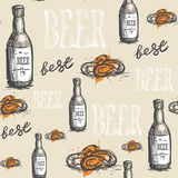 Beer Glass Seamless Pattern Oktoberfest Festival Holiday Decoration Banner. Vector Illustration Royalty Free Stock Images