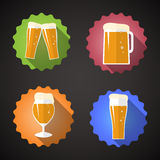 Beer Glass Set Flat Vector icon Royalty Free Stock Image