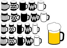 Beer glass silhouette Royalty Free Stock Images