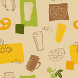 Beer glass snack graphic art beige yellow green brown color seamless pattern illustration Stock Images