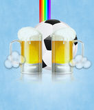Beer Glass and Soccer Ball. Mug of beer and soccer (football) ball on abstract background Vector Illustration
