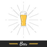 Beer glass and sun burst. Beer glass and vintage sun burst frame. Vector illustration flat style isolated sign on white background Royalty Free Stock Images