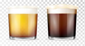 Beer glass. Transparent cup. vector illustration