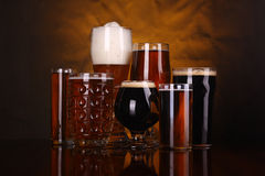Beer glass variety Royalty Free Stock Images