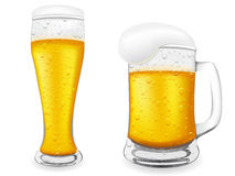 Beer is in glass vector illustration. Isolated on white background Stock Images