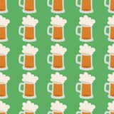 Beer glass vector seamless pattern celebration refreshment brewery oktoberfest background. Alcohol beer vector transparent glass illustration. Celebration Royalty Free Stock Photo