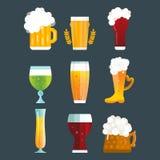 Beer glass vector set. Alcohol beer vector transparent bottle illustration. Celebration refreshment brewery icon. Party dark vintage beverage mug frosty craft Royalty Free Stock Photo