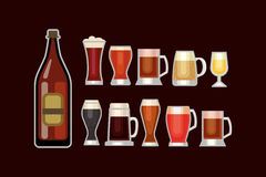 Beer glass vector set. Royalty Free Stock Photography