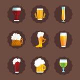 Beer glass vector set. Alcohol beer vector transparent bottle illustration. Celebration refreshment brewery icon. Party dark vintage beverage mug frosty craft Royalty Free Stock Images