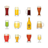 Beer glass vector set. Royalty Free Stock Images