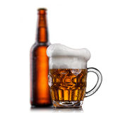 Beer in glass with water drops isolated on white Royalty Free Stock Photos