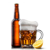 Beer in glass with water drops Royalty Free Stock Images