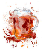 Beer glass. Watercolor Royalty Free Stock Photography