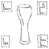 Beer Glass Weizen Type. Hand Drawn Vector Illustraition. Royalty Free Stock Photography