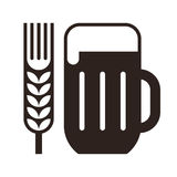 Beer glass and wheat ear symbol Royalty Free Stock Photography