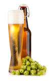 Beer glass on white background. Beer glass and bottle,  on white background Stock Image