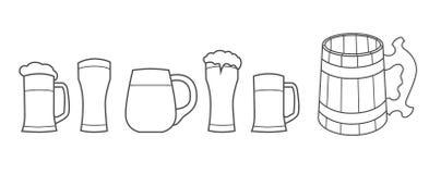 Beer glass, wooden mug. stock illustration