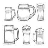 Beer glass, wooden mug. stock illustration