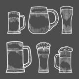 Beer glass, wooden mug. vector illustration