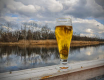 Beer in glass on wooden table against blue sky and clouds on natural background with bokeh Royalty Free Stock Photography