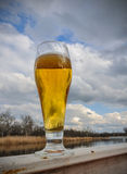 Beer in glass on wooden table against blue sky and clouds on natural background with bokeh Royalty Free Stock Images