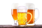 Beer glass on wooden table background Stock Photos