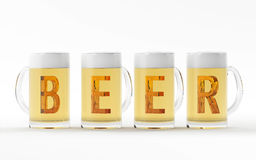Beer glasses with amber crystal font 3D rendering royalty free stock images